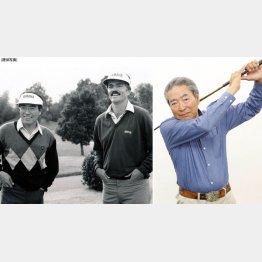 野球評論家・元巨人投手の中村稔さん。左はスコット・シンプソンと。下りパットのコツを教わる(C)日刊ゲンダイ