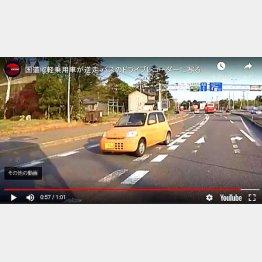 北海道の国道を逆走する軽自動車(ユーチューブから)