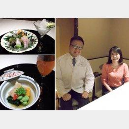 「日本料理の新しい提案です」と湯木尚二さん(右写真㊧)。隣はドリンクコーディネーターの藤田一香さん(C)日刊ゲンダイ