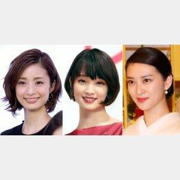 (左から)上戸彩、剛力彩芽、武井咲(C)日刊ゲンダイ