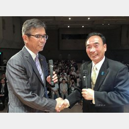 宮本岳志氏(左)と籠池前理事長(提供)相澤冬樹