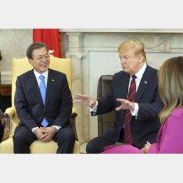 4月11日の会議がカギ(トランプ米大統領と韓国の文在寅大統領)/(C)聯合=共同
