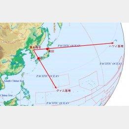 秋田市と萩市の延長線上には米軍施設がある(秋田大元准教授・福留高明氏のフェイスブックから)