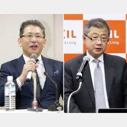 LIXILグループの瀬戸欣哉前CEO(左)と創業家の潮田洋一郎会長兼CEO(C)共同通信社