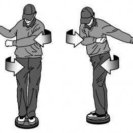 ダウンで腕をボール方向に振ると骨盤は閉じてしまう
