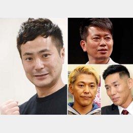 (左から時計回りに)カラテカ・入江慎也、宮迫博之、レイザーラモンHG、田村亮(C)日刊ゲンダイ