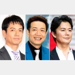 (左から)沢村一樹、田原俊彦、福山雅治(C)日刊ゲンダイ