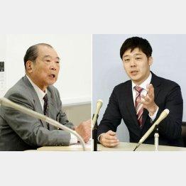 徳島県庁で記者会見する共産党の松本顕治氏と、左は国民民主党高知県連顧問の平野貞夫氏(C)共同通信社