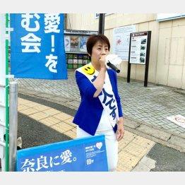 男の天下に殴り込む野党統一候補の西田一美氏(C)日刊ゲンダイ