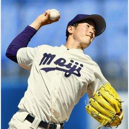 全日本大学野球で完投勝利、明大を優勝に導いた森下暢(C)共同通信社