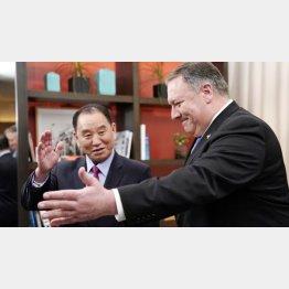 粛清説が浮上した北朝鮮の金英哲氏は健在(右はポンペオ米国務長官、2019年1月)/(C)ロイター=共同