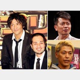 左から時計回りに、「スリムクラブ」の真栄田賢と内間政成、宮迫博之、田村亮/(C)日刊ゲンダイ