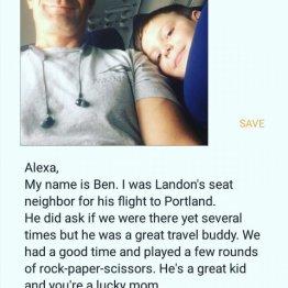 自閉症児が飛行機で一人旅…隣席の男性の親切に全米が共感