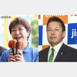 永江孝子氏(左)とらくさぶろう氏(C)共同通信社