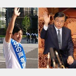 安達候補(写真左・本人のツイッターより)と礒崎候補(C)日刊ゲンダイ