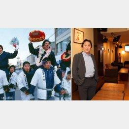 日本選手権V5を決め大歓迎を受ける(83年=左)松尾雄治さん/(C)日刊ゲンダイ