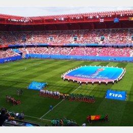 イングランド対カメルーンが行われたヴァランシエンヌのスタジアム(写真)佐々木佑介