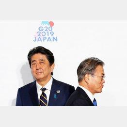 顔をこわばらせて握手(G20大阪での安倍首相と韓国の文在寅大統領)/(C)ロイター