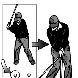 右足前にイメージしたボールを「引き付けて打つ」感覚で