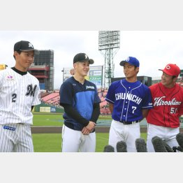 (左から)藤原、吉田、根尾、小園(C)日刊ゲンダイ