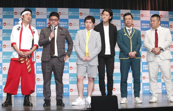 (左から)NON STYLEの石田、ミキの昴生、霜降り明星、プラスマイナス(C)日刊ゲンダイ