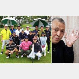 周りを気遣うゴルフを目指す市川男女蔵さん(左・前列央)、ホールインワンの記念のお皿(提供写真)