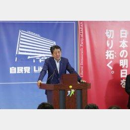 参院選後会見をする安倍首相(C)日刊ゲンダイ