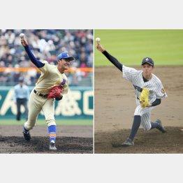 星稜・奥川(左)と大船渡・佐々木(C)日刊ゲンダイ