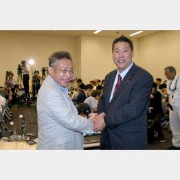 N国・立花党首(右)と渡辺喜美元行革相が結成した会派「みんなの党」がくじを引き当てた(C)日刊ゲンダイ