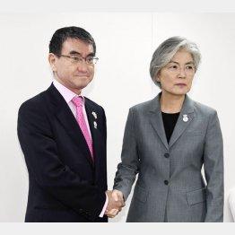 日韓外相会談は主張の応酬に終始(C)共同通信社