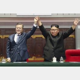 対北制裁解除が急務(文在寅韓国大統領と金正恩朝鮮労働党委員長=右)/(平壌写真共同取材団・共同)