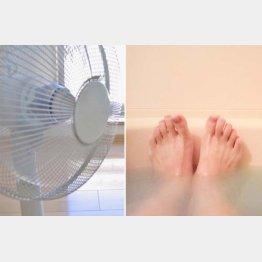 扇風機は風通しの良い環境で、最初に湯船に5分つかって