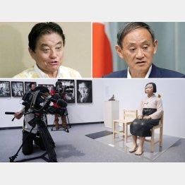 左上から時計回りに、河村名古屋市長と菅官房長官、「あいちトリエンナーレ2019」実行委員会が展示の中止を決めた「平和の少女像」/(C)共同通信社