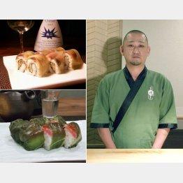 鯖の小袖寿司(左上)、高菜巻き(左下)、右は辻村昭紀さん(C)日刊ゲンダイ