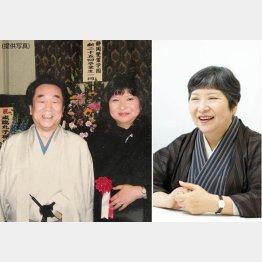 デビュー作の出版記念会で、早乙女貢さん(左)と植松三十里さん(C)日刊ゲンダイ