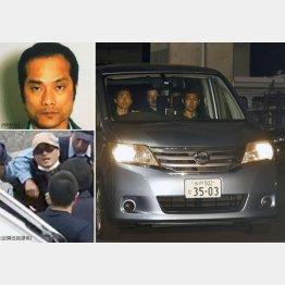 身柄を確保される宮崎文夫容疑者(左)と交際相手の喜本奈津子容疑屋を乗せた警察車両(右)/(C)共同通信社