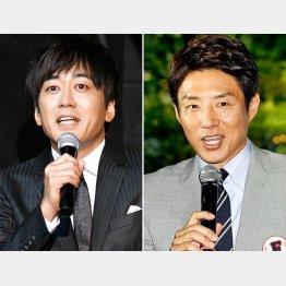 (左から)TBSの安住紳一郎アナウンサーと松岡修造(C)日刊ゲンダイ