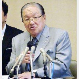 会見する横浜港運協会会長の藤木幸夫氏(C)日刊ゲンダイ