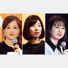 左から水卜麻美、山崎夕貴、弘中綾香の3アナウンサー(C)日刊ゲンダイ