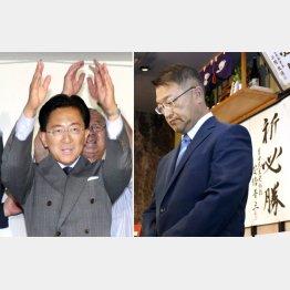 岩手県知事選は、ダブルスコア以上の票差で達増拓也氏(左)が当選(右は落選した及川敦氏)/(C)共同通信社