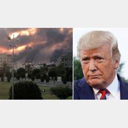 「臨戦態勢をとる」と、トランプ米大統領(左は、攻撃で炎上するサウジの石油施設)/(C)ロイター