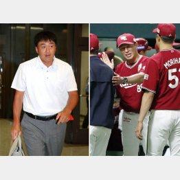 平石監督(右・央)は1年で退任することが濃厚に…(左は、石井GM)/(C)共同通信社