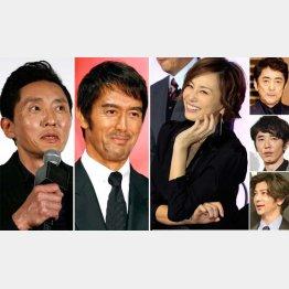 (左から)重松清、阿部寛、米倉涼子。右は上から、市村正親、ユースケ・サンタマリア、武田真治(C)日刊ゲンダイ