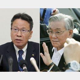 関西電力の岩根茂樹社長(左)と八木誠会長(C)共同通信社