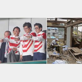 千葉の人たちは災害で苦しんでいるのに…(右から安倍首相、萩生田文科相、麻生副総理)/(C)日刊ゲンダイ