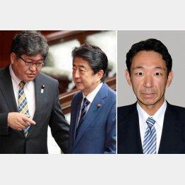 安倍首相と萩生田文科相(左)、右は上野宏史前厚労政務官(C)共同通信社