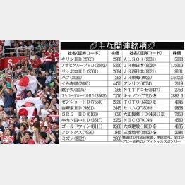 2020年ラグビーW杯の主な関連銘柄(C)日刊ゲンダイ
