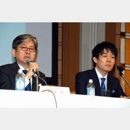 コインチェックの子会社化を発表するマネックスグループの松本大氏(2018年4月)/(C)日刊ゲンダイ