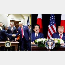 とことんナメられている(安倍首相とトランプ米大統領=右、昨8日の日米貿易協定署名式で握手する杉山晋輔在米日本大使=左)/(C)ロイター