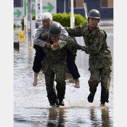 台風19号でも自衛隊が活躍(阿武隈川が氾濫した福島県本宮市で自衛隊員に救出されるお年寄り)/(C)共同通信社